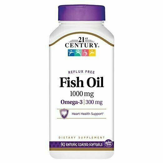 21st Century Fish Oil 1000 mg Enteric Coated Softgels, 90 Count - usaotc.com