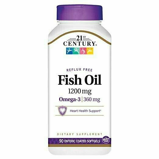 21st Century Fish Oil 1200 mg Enteric Coated Softgels, 90 Count - usaotc.com