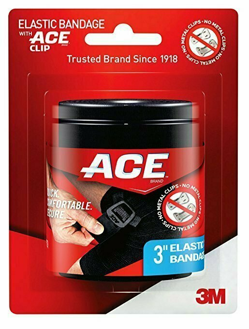 Ace Brand Black Elastic Bandage with Ace Brand Clip, 3 Inch - usaotc.com