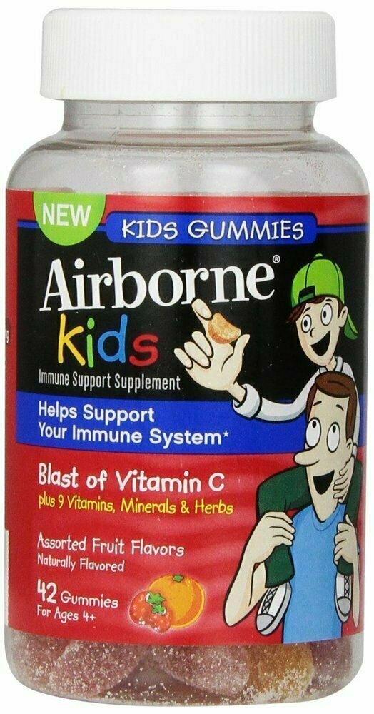 Airborne Kids Gummies Immune Support Supplement, Assorted Fruit Flavors, 42 Count - usaotc.com