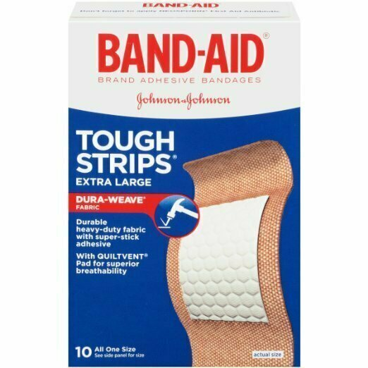 Band-Aid Brand Adhesive Bandages, Extra Large Tough Strips, 10 Count - usaotc.com