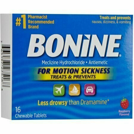 Bonine Chewable Tablets for Motion Sickness, Raspberry 16 each - usaotc.com