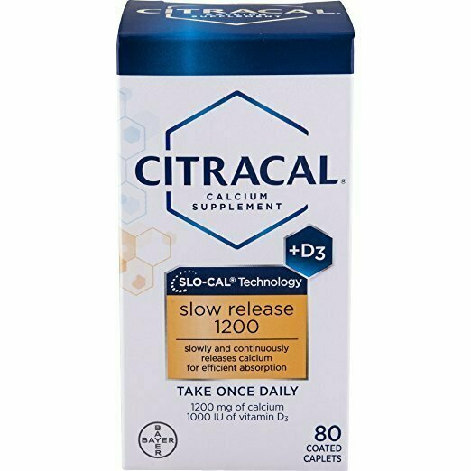 Citracal Slow Release 1200, 1200 mg Calcium Citrate and Calcium Carbonate Blend with 1000 IU Vitamin D3, Bone Health Supplement for Adults, Once Daily Caplets, 80 Count - usaotc.com