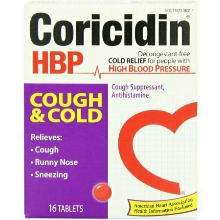 Coricidin HBP Antihistamine Cough & Cold Suppressant Tablets, 16 Tablets - usaotc.com