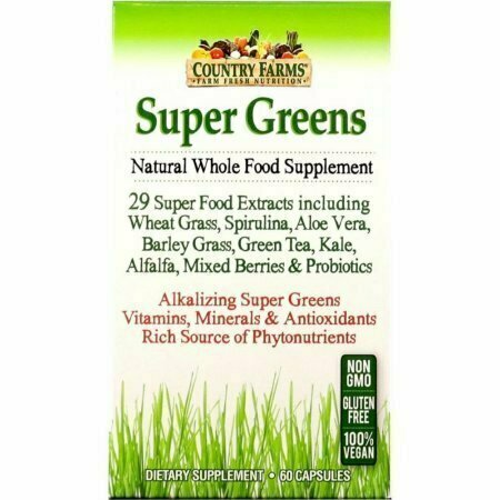 Country Farms Super Greens Natural Whole Food Supplement Veggie Capsules 60 each - usaotc.com