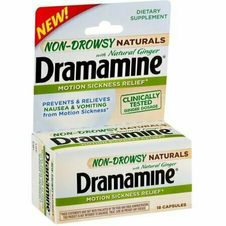 Dramamine Non-Drowsy Naturals Motion Sickness Relief Capsules with Natural Ginger 18 each - usaotc.com