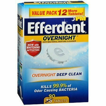 Efferdent PM Overnight Anti-Bacterial Denture Cleanser Tablets 90 each - usaotc.com