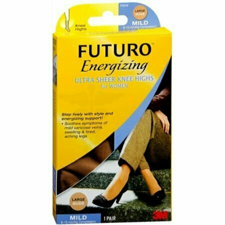FUTURO Energizing Ultra Sheer Knee Highs Mild Large Nude 1 Pair - usaotc.com