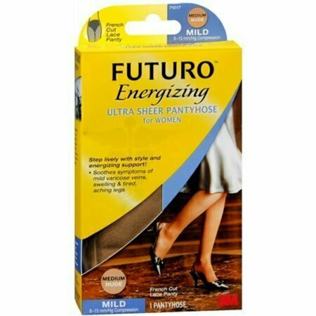 FUTURO Energizing Ultra Sheer Pantyhose For Women French Cut Lace Panty Mild Medium Nude 1 Pair - usaotc.com