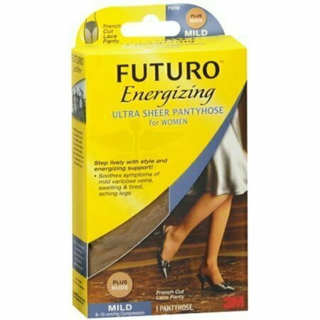 FUTURO Energizing Ultra Sheer Pantyhose For Women French Cut Lace Panty Mild Plus Nude 1 Pair - usaotc.com