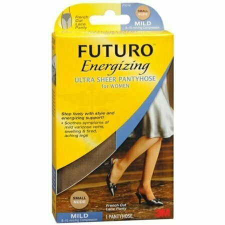FUTURO Energizing Ultra Sheer Pantyhose For Women French Cut Lace Panty Mild Small Nude 1 Pair - usaotc.com