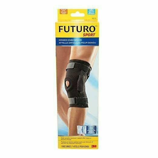 Futuro Hinged Knee Brace, Adjust to Fit, Black, Firm Stabilizing Support - usaotc.com