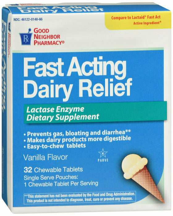 GNP DAIRY RELIEF FAST/ACTING CHEWABLE TABS 32 CT - usaotc.com