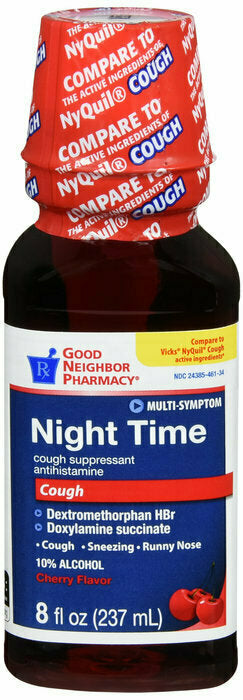 GNP NIGHT TIME CHERRY COUGH LIQUID 8 OZ - usaotc.com