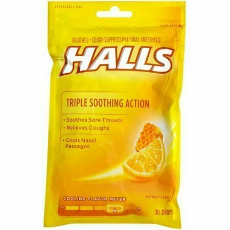 Halls Triple Soothing Action Cough Drops, Honey Lemon 30 Each - usaotc.com