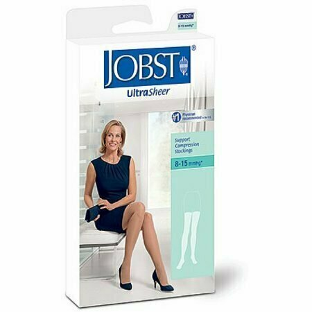 JOBST Ultra Sheer Knee High Stockings, Silky Beige, 8-15 mmHg Large 1 Pair - usaotc.com