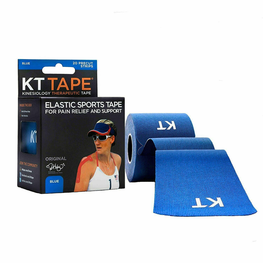 KT Tape Original Cotton Elastic Kinesiology Therapeutic Sports Tape, 20 Pre cut 10 inch Strips, Blue - usaotc.com