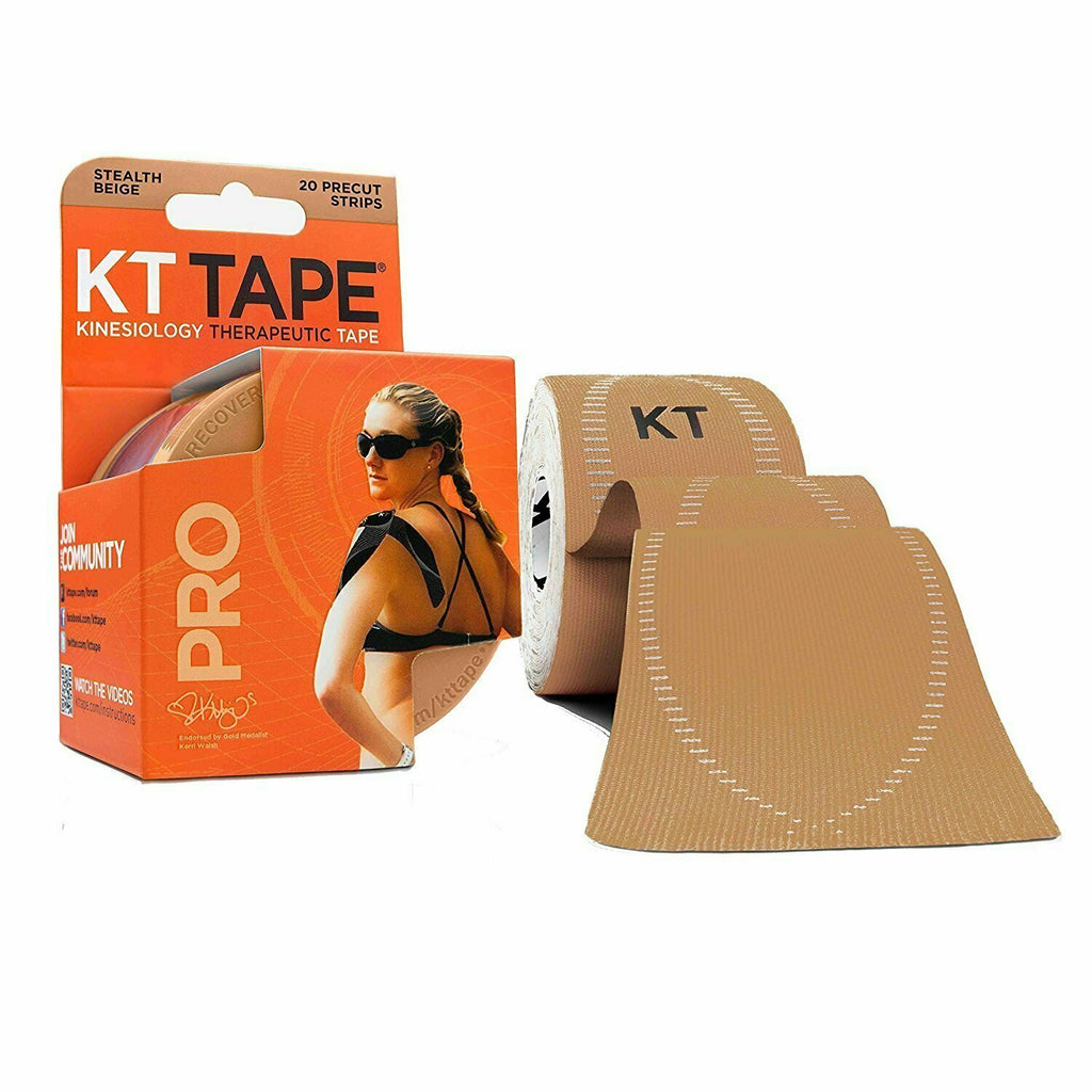 KT Tape Pro Kinesiology Therapeutic Sports Tape, 20 Precut 10 inch Strips, Stealth Beige - usaotc.com