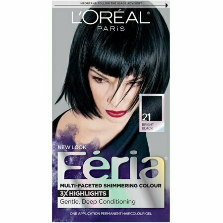 L'Oreal Feria Multi-Faceted Shimmering Colour, 21 Bright Black, 1 Each - usaotc.com