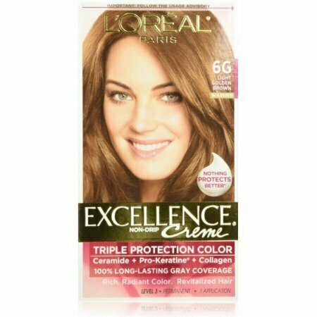 L'Oreal Paris Excellence Creme Triple Protection Hair Color, Light Golden Brown [6G] 1 each - usaotc.com