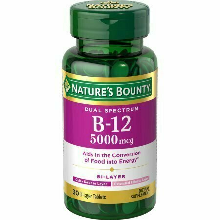 Nature's Bounty Dual Spectrum B-12 Dietary Supplement Bi-Layer Tablets, 5,000mcg, 30 count - usaotc.com