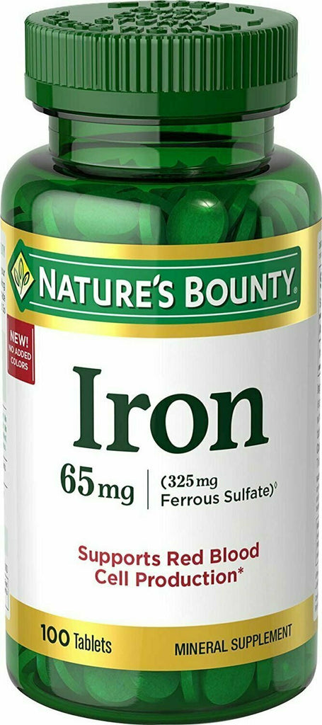 Nature's Bounty Iron 65 Mg.(325 mg Ferrous Sulfate), 100 Tablets - usaotc.com