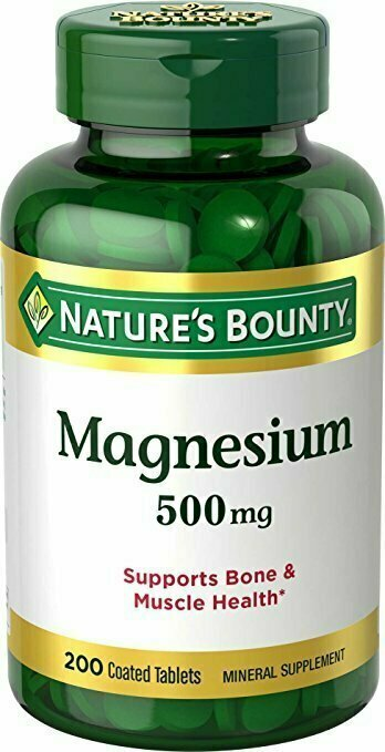 Nature's Bounty Magnesium, 500 mg, 200 Coated Tablets, Mineral Supplement, Supports Bone and Muscle Health, Gluten Free, Vegetarian - usaotc.com