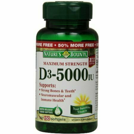 Nature's Bounty Vitamin D-5000 IU Softgels, Maximum Strength 100 ea - usaotc.com