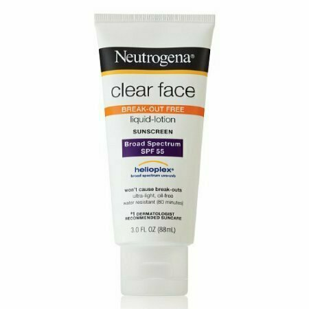 Neutrogena Clear Face Sunscreen Lotion, Spf 55 - 3 Oz - usaotc.com