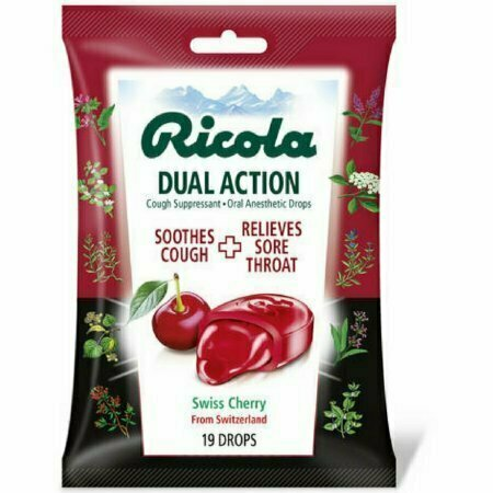 Ricola Dual Action Cough Suppressant Oral Anesthetic Drops, Swiss Cherry 19 each - usaotc.com