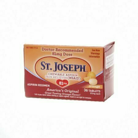 St.Joseph Chewable Aspirin Pain Reliever 81Mg Tablets, Orange - 36 Each - usaotc.com