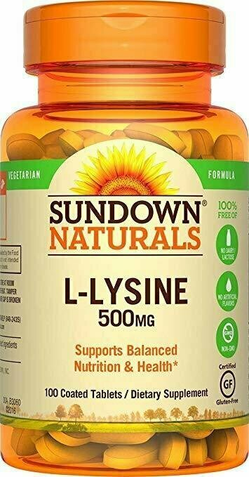 Sundown Naturals L-Lysine 500 mg Essential Amino Acids, 100 Tablets - usaotc.com