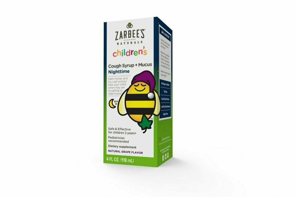 Zarbee's Childrens' Nightime Cough Syrup and Mucus Reducer, Grape Flavor, 4 Fluid Ounce - usaotc.com