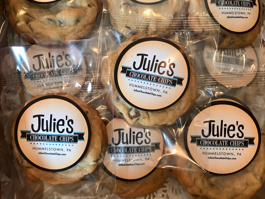 This is an image of individually wrapped Julie's Chocolate Chips Cookies for a care package.