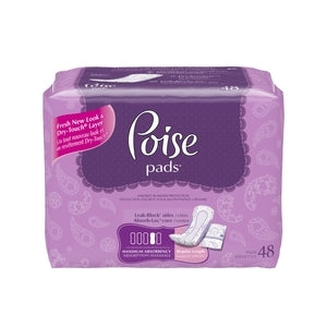 Poise Max Absorbency Pads Regular length