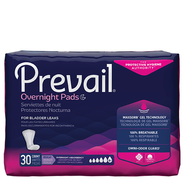 Prevail Overnight Absorbency Bladder Control Pads