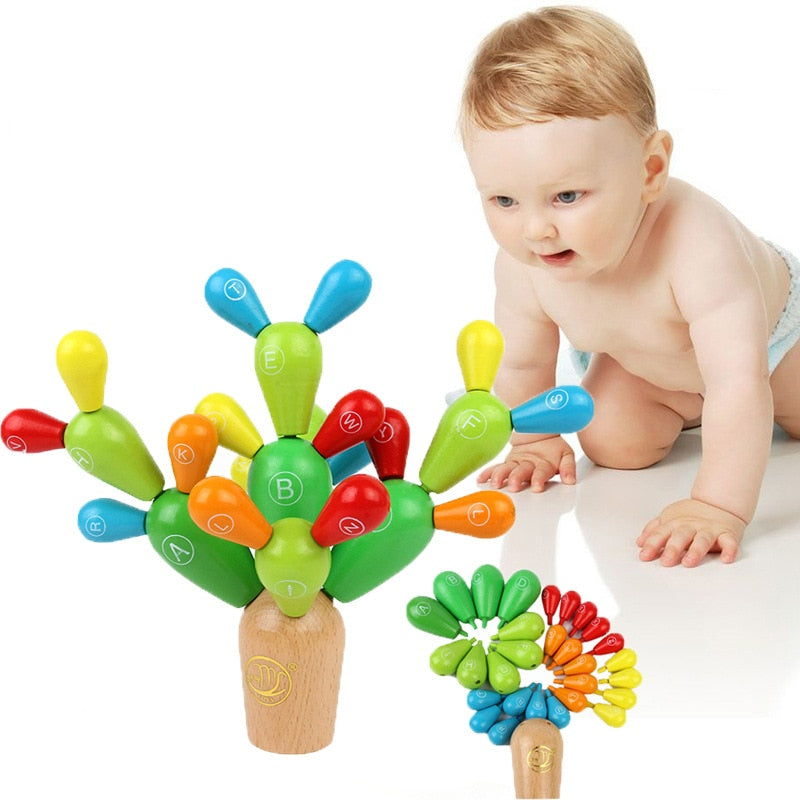 Wooden Cactus Balancing Toys for Toddler Early Education Removable Building Blocks for Baby Kids Developmental Intelligence Toy