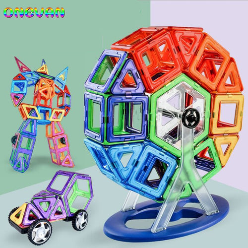30-252pcs DIY Magnetic Constructor Triangle Square Big Bricks Magnetic Building Blocks Designer Set Magnet Toys For Children