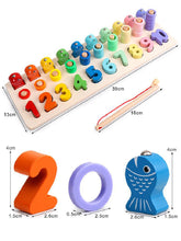 Load image into Gallery viewer, Montessori Educational Wooden Toys For Kids Board Math Fishing Count Numbers Digital Shape Match Early Education Child Gift Toy