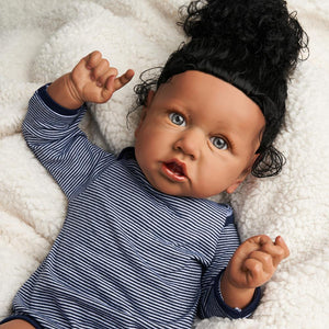 RSG Reborn Baby Doll 22 Inches Lifelike Newborn Cutie Afro African American Baby Silicone Vinyl Doll Gift Toy for Children