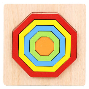 Baby colorful wooden geometric shapes cognition puzzle board kids math game montessori preschool learning educational toys