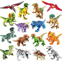 Load image into Gallery viewer, Jurassic Dinosaur Set Figure Wild World Pterosauria Triceratop Indomirus T-Rex Building Bicks Toy for Children Christmas Gift