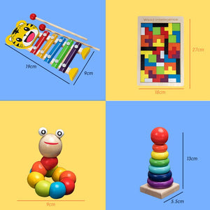 Kids Montessori Wooden Toys Rainbow Blocks Kid Learning Toy Baby Music Rattles Graphic Colorful Wooden Blocks Educational Toy