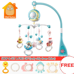 Baby Rattles Crib Mobiles Toy Holder Rotating Mobile Bed Bell Musical Box Projection 0-12 Months Newborn Infant Baby Boy Toys