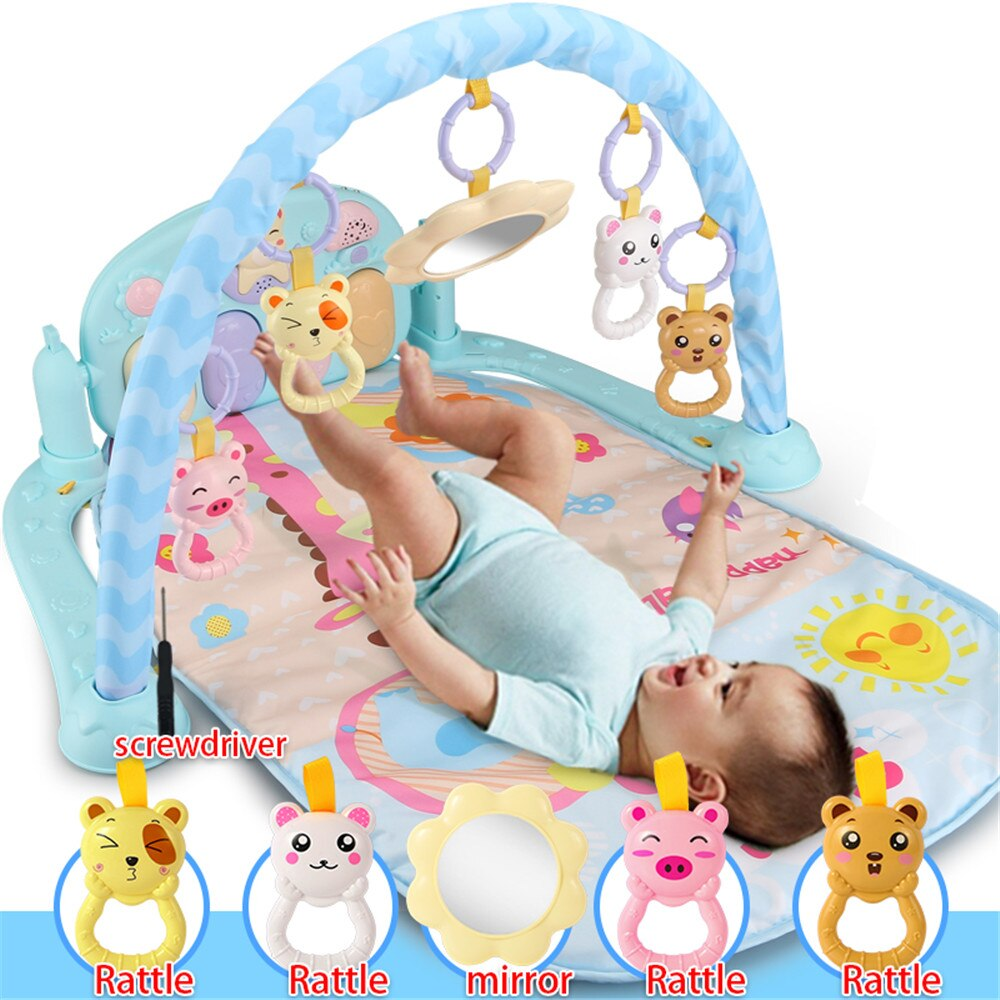 Baby Gym Toys Lights Lighting Baby Play Music Mat Carpet Kid Crawling Play Mat Game Develop Mat with Piano Keyboard Infant Rug