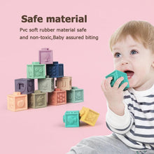 Load image into Gallery viewer, 12pcs Baby Grasp Toy Soft Rubber Vinyl Embossed Building Blocks 3D Touch Hand Balls Baby Massage Rubber Teethers Squeeze Toy