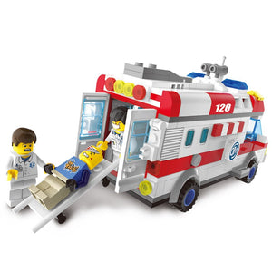 328pcs Ambulance Car Building Blocks Field Armies Cannon Small Particles Bricks Children Toys Compatible With Lepining City