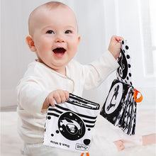 Load image into Gallery viewer, 3PCS Cloth Books Black White Soft Baby Toys Book Cute Animal Quiet Book Infant Toys Early Learning Educational Toys 0 -12 Month