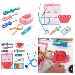 Kids Pretend Play Toy Dentist Check Teeth Model Set Medical Kit Educational Role Play Simulation Learing Toys For Children