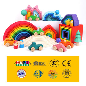 Baby Toys Wooden Block Rainbow Kids Creative building Blocks Stacker Wooden Toys Baby Early Learning Montessori Educational Toy
